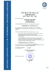 steamtec Zertifikat DGG $51 2016