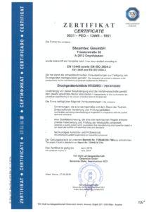 steamtec Zertifikat EN13445 2016