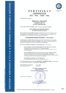 steamtec Zertifikat EN13480 2016