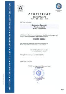 steamtec Zertifikat EN iISO 3834 2016