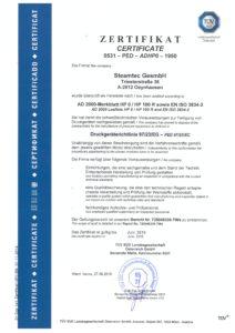 steamtec Zertifikat HP0 2016
